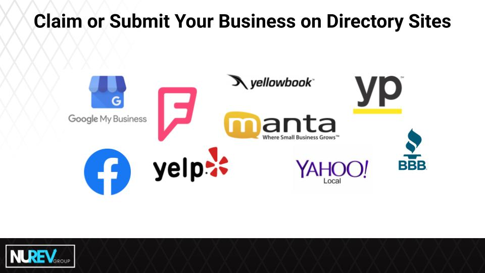 Website directories including google mybusiness, facebook and yelp